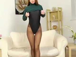 Splendid Ass In Pantyhose Leotard